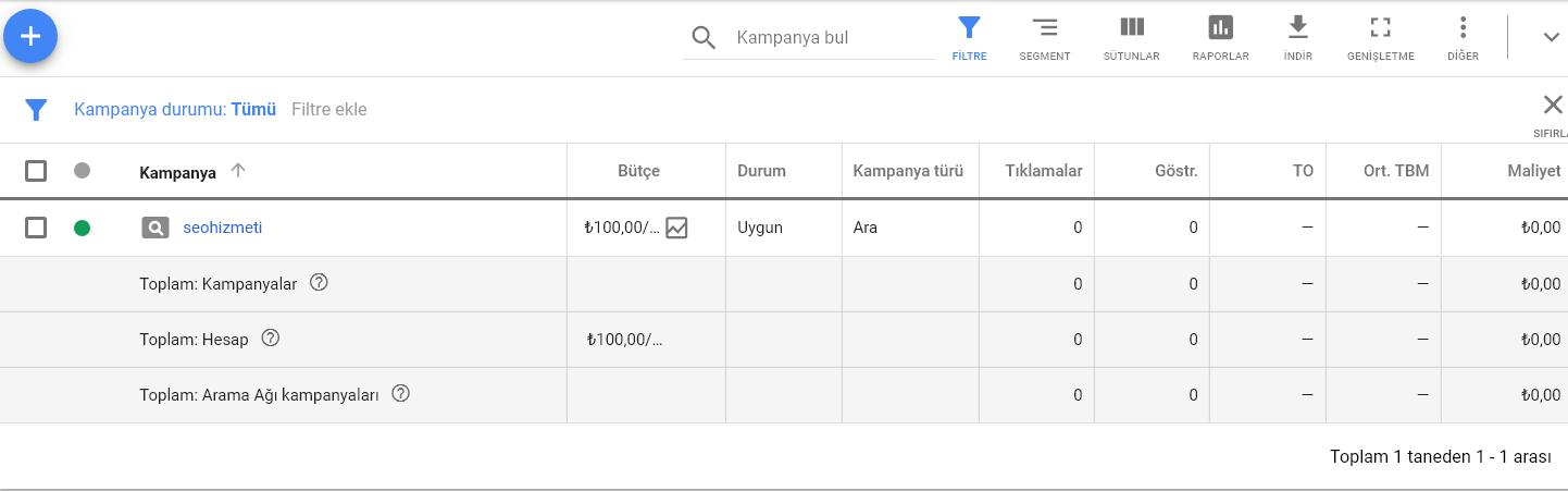 Google Reklam - Kampanyalar Günlük Bütçe